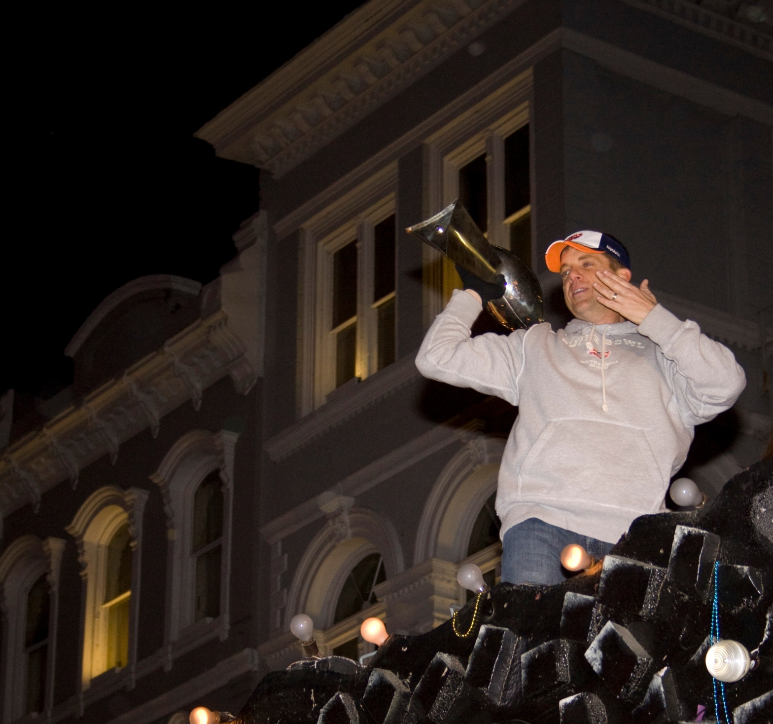 Sean Payton with Lombardi Trophy